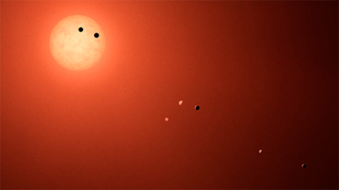This illustration shows the seven planets orbiting TRAPPIST-1, an ultra-cool dwarf star