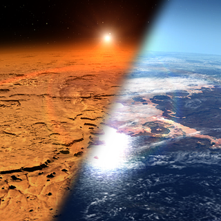 This artist's concept is a dual illustration. On the right is the early Martian environment, which is believed to contain liquid water and a thicker atmosphere. Shown on the left is the cold, dry environment seen at Mars today.