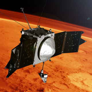 Illustration depicting NASA's MAVEN spacecraft orbiting Mars
