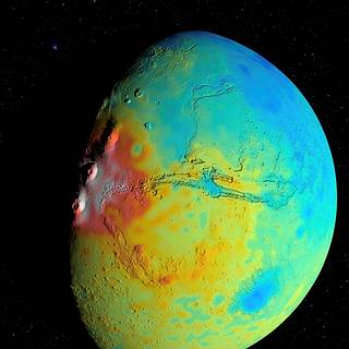 Map showing variations in the thickness of the crust of Mars. The map was derived from modeling of Mars' gravity field.