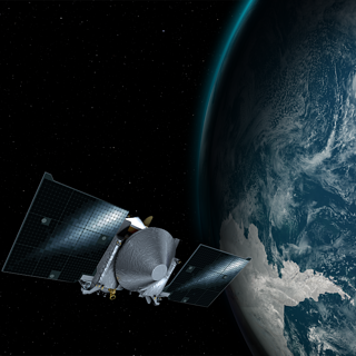 Illustration depicting NASA's OSIRIS-REx spacecraft passing by Earth