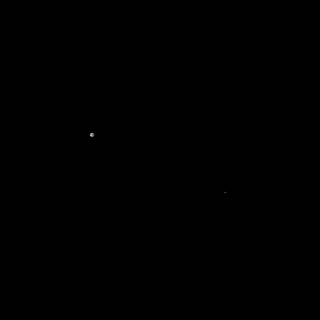 Black-and-white image of the Earth and Moon taken by OSIRIS-REx's navigation camera