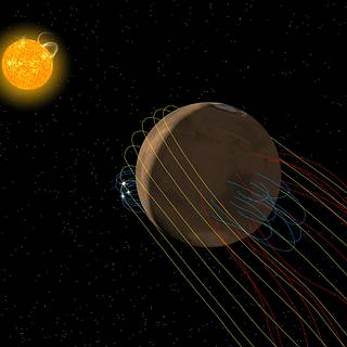 artist's conception of the complex magnetic field environment at Mars