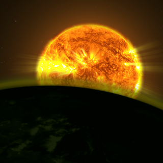 This illustration shows a star's light illuminating an exoplanet's atmosphere.