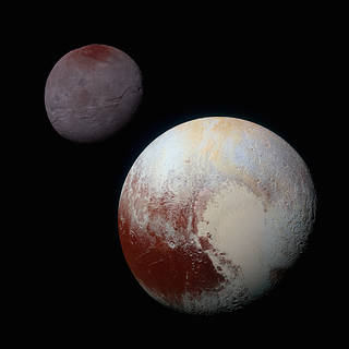 image of Pluto and its relatively large moon Charon