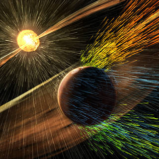 An artist's rendition depicts a solar storm hitting Mars and stripping ions from the upper atmosphere.