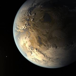 An illustration of Kepler-186f, the first Earth-size planet discovered within a star's habitable zone.