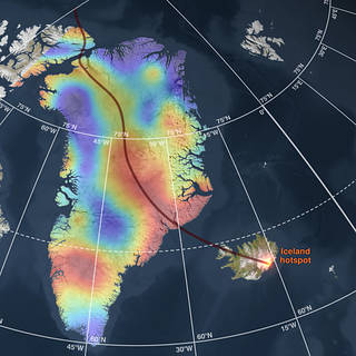 Greenland geothermal heat flux map,