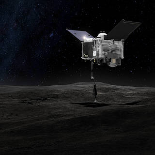 Artist rendering of OSIRIS-REx spacecraft above asteroid