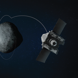 Illustration of OSIRIS-REx in orbit around Bennu