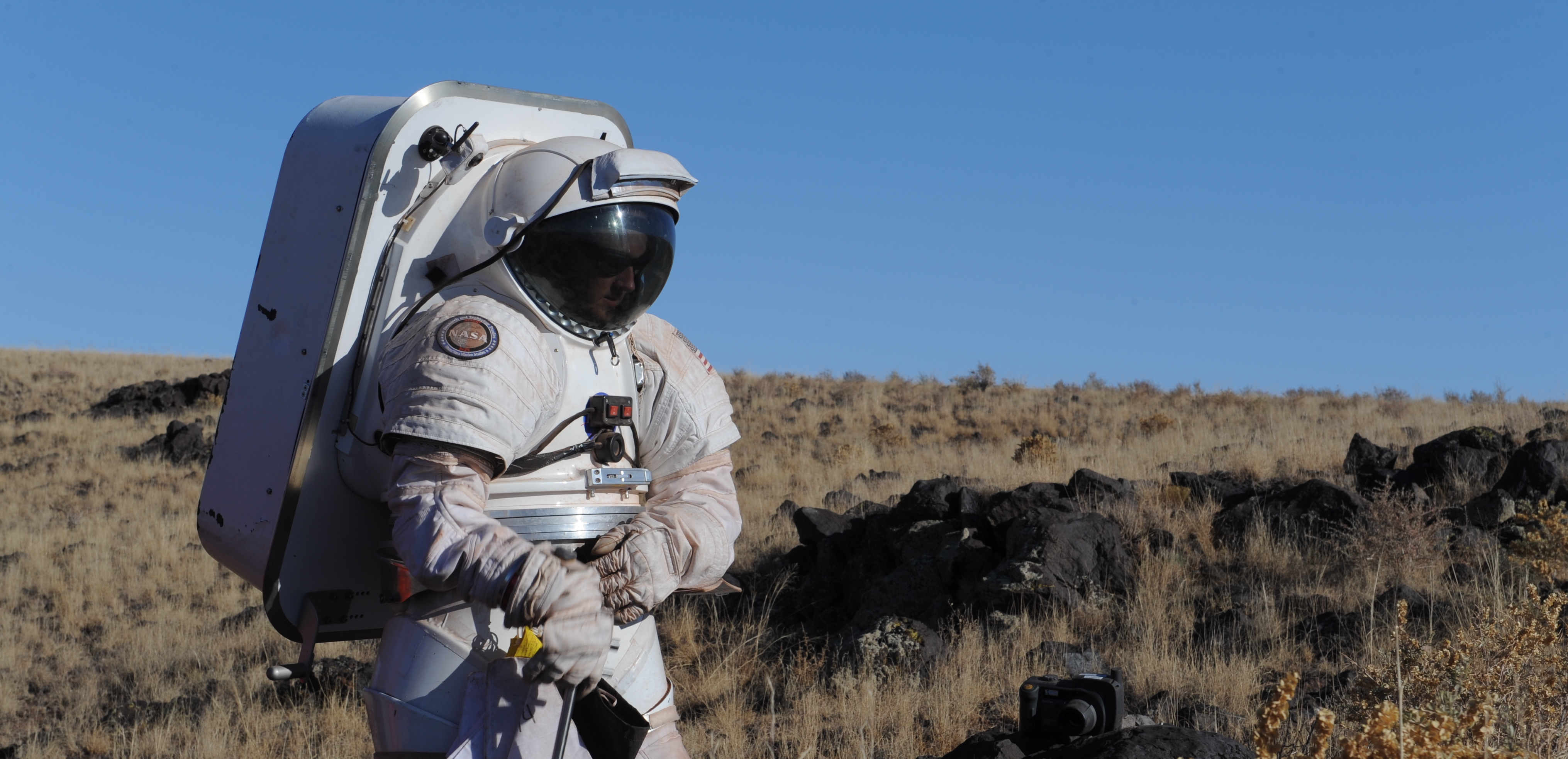 Brent Garry in simulated spacesuit during Desert RATS field campaign.