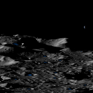 Conceptual illustration of permanently shadowed, shallow icy craters near the lunar south pole.