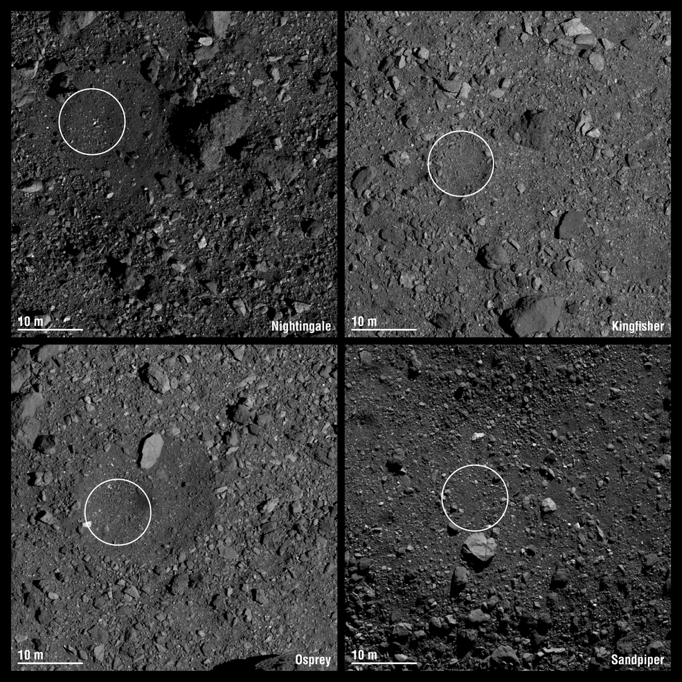 Images of the four candidate sample collection sites on asteroid Bennu selected by NASA's OSIRIS-REx mission.