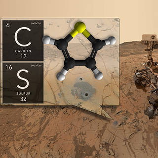 Montage of Carbon and Sulfur molecule structures overlaid on an image of the Martian surface.